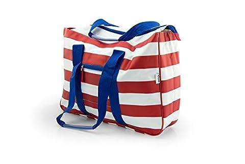 Große XL Strandtasche von Kiras mit verschließbaren Taschen - Multifunktionale