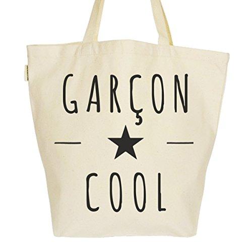 Grand Sac Cabas Fourre-tout Imprimé Toile Bio 37x45x20cm Tote Bag XL - Garçon Cool