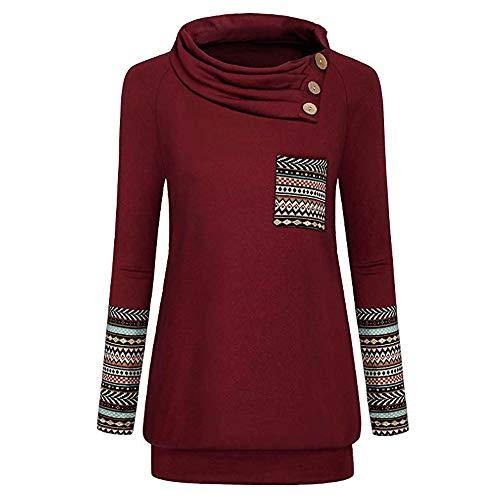 KUDICO Damen Tops T-Shirt Jumper Pullover Langärmliges, Bedrucktes Hemd mit Knopfleiste und Sweatshirt(Rot, EU-36/CN-M)