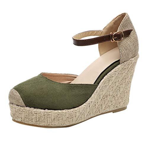 B-commerce Frauen Plateau Sandalen - Mode Flock Wedges Hohe Knöchel Outdoor Runde Spitze Lässige Schnalle Schuhe Sommer Strand Lose Damen Schuhe