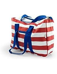 Große XL Strandtasche von Kiras mit verschließbaren Taschen - Multifunktionale Badetasche, auch ideal als Shopper oder Einkaufstasche
