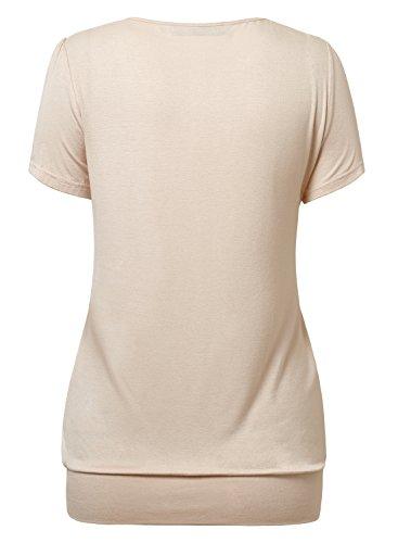DJT Damen Casual Falten Kurzarm T-Shirt mit Stretch Rundkragen Apricot