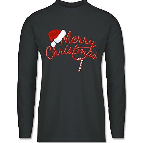 Weihnachten & Silvester - Merry Christmas Zuckerstange - Longsleeve / langärmeliges T-Shirt für Herren Anthrazit