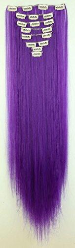 S-noilite 66cm Glatt 8 teiliges SET Clip in Extensions Haarverlängerung Haarteile (Dunkles Lila) (Lila Echthaar Extensions)