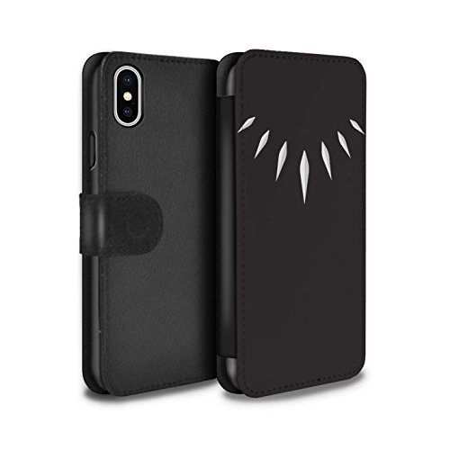 Stuff4® PU-Leder Hülle/Case/Tasche/Cover für Apple iPhone X/10 / T'Challa Klauenhalskette Muster/Schwarzer Panther Inspiriert Kollektion (Marvel-comic-iphone Fälle 4)