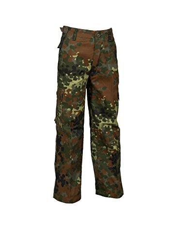 Grün Ranger Kinder Kostüm - Robuste + Komfortable US Style Kinder Jungen Mädchen Rangerhose Freizeithose Kampfhose viele verschiedene Farben S-XXXL (M (134/140), Flecktarn)