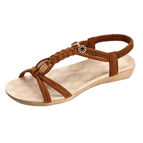 Transer ® Femmes Bandage Bohême sandales Peep-Toe plage été Marron