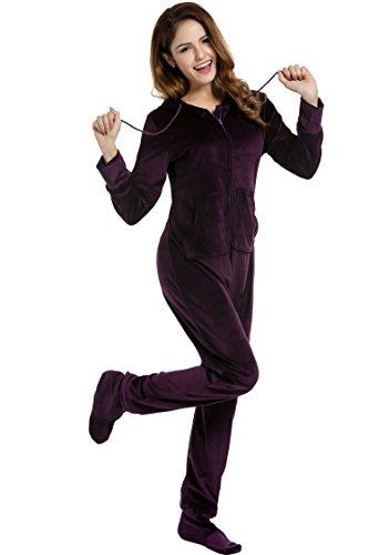 UNibelle Erwachsenenstrampler mit Füßen Onesie Schlafanzug Schlafoverall Jumpsuit körpergrößenabhängige Pyjama Dunkles Violet Dunkles Violet XXL - 2