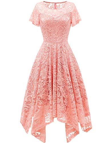 bridesmay Damen Elegant Spitzenkleid Rundhals Unregelmässig Zipfel Kleid Abendkleid Cocktailkleider Blush 2XL (Chiffon Kleid Taschentuch)