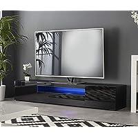 MMT DAIQ2000 Meuble TV pour téléviseur 4k 65 70 75 80 Pouces avec LED 200 cm de Large Noir