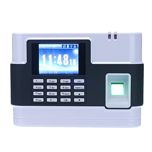KKmoon Biometrischer Fingerabdruck Passwort Anwesenheits Maschine Mitarbeiter Check-in Recorder TCP / IP-2.8-Zoll LCD Bildschirm DC 9V Zeit Anwesenheits Zeit Teilnahme Uhr