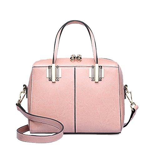 Dissa Q0864 Damen Leder Handtaschen Satchel Tote Taschen Schultertaschen Rose