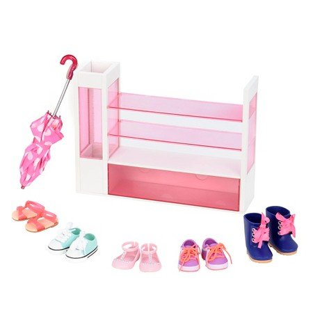 Our Generation BD37314 - OG - Schuhregal Set (Roller Kleidung Rack)