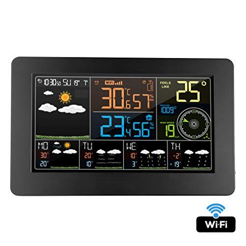 Drahtlose Wetterstation mit Außenfühler, Wifi Innentemperatur im Freien Luftfeuchtigkeit Druck Wind Wettervorhersage mit LCD, Digital Alarm Wanduhr Wetterstation