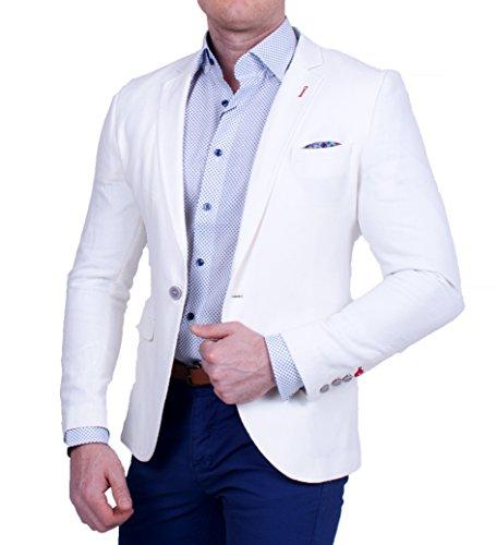 Herren Casual Polo Leinen Sakko, gestreifte Feinstruktur, pastell Farbe, Slim-Fit Blazer, Einknopf Jackett, Groe§e 50, creme (Leinen-look Herren Creme)