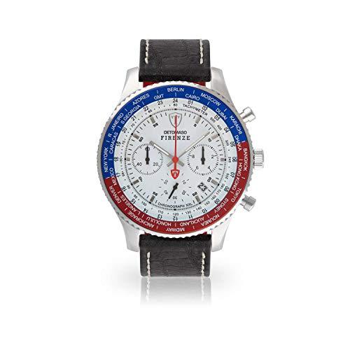 DETOMASO Firenze XXL Herren-Armbanduhr Chronograph Analog Quarz schwarzes Lederarmband weißes Zifferblatt DT1045-M-962