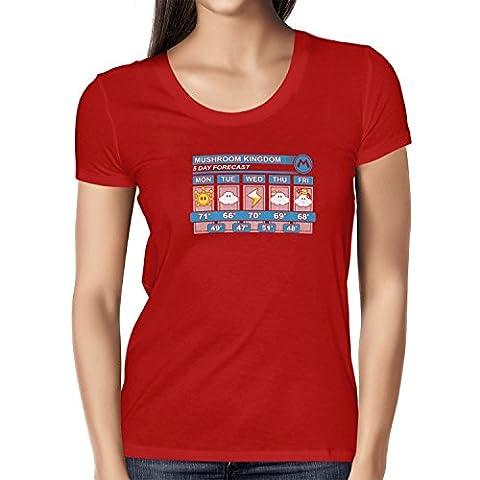 TEXLAB - Mushroom Kingdom Weather Forecast - Damen T-Shirt, Größe L, rot