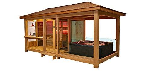 """Die Luxus-Außensauna """"EO-SPA Sauna LT06"""" mit roter Zeder und 9kW Vitra-Ofen"""