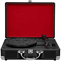 BLKykll Gramófono Retro Bluetooth Reproductor De Discos De Vinilo- Función Grabación, FM Radio, MP3,USB, SD,con Altavoces Incorporados