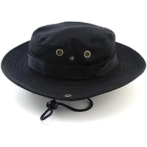GenialES Sombrero de Pescador Adulto Unisexo Táctico Verano Anti-UV Boonie Hat Mountaña Senderismo Pesca Caza Negro