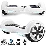 Magic Vida Skateboard Électrique Bluetooth 6.5 Pouces Blanc avec LED Puissance 700W...