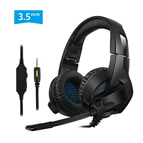 Pecosso Gaming Headset,PS4 X-Box Nintendo 3DS Gaming Kopfhörer für Laptop Mac Tablet One PC -3,5-mm-Buchsen Surround Sound Kabelgebundenes Gaming Kopfhörer mit Mikrofon