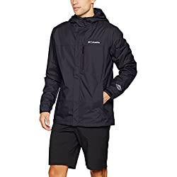 Columbia Men's Waterproof Rain Jacket, POURING ADVENTURE II JACKET, Nylon, Black, Size: M, XO0191