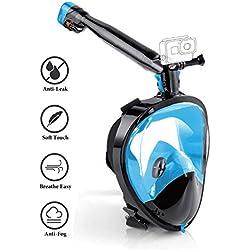 FOMO Masque de plongée intégral avec Tuba, Tube de Rotation à 360°, système de Respiration amélioré, Vue panoramique et Anti-buée, Masque de plongée pour Adultes, Bleu/Noir, L-XL