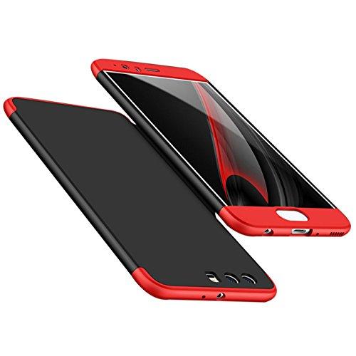 Huawei P10 Plus Coque,Sunroyal Coque Dur Matte Housse Très mince Non Slip Surface antichoc Hard PC Matière avec [Protecteur d'écran] [Ultra Mince] [Ultra Léger] Anti-Rayures Anti-dérapante Case Coque  Rouge Noir