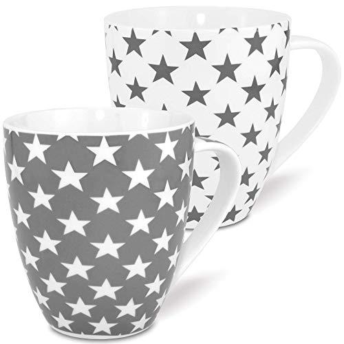 MC-Trend 2er Set XL Jumbo Grosse Becher Tassen in Weiß und grau mit Sternen aus Porzellan Füllmenge 600ml Höhe 12cm Büro Küche Schreibtisch -