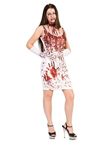 Kostüm Kleid Lady Blood Größe 36/38 Damen Halloween Horror Krankenschwester Blut Handschuhe Karneval Fasching (Handschuhe Krankenschwester Kostüm)