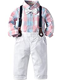 9774f2c30b78b ZOEREA 2 Piezas Bebé Niño Ropa Conjuntos Camisas a Cuadros Manga Larga +  Pantalones Infantil Niños Trajes Conjunto de Fiesta Boda…