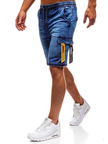 BOLF Herren Kurzhose Jeanshose Sporthose Short Hose Casual RED Fireball HY187 Dunkelblau M [7G7] |