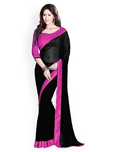 Reeva Trendz Women's Georgette Saree With Blouse Piece (Pink_Black,Pink)