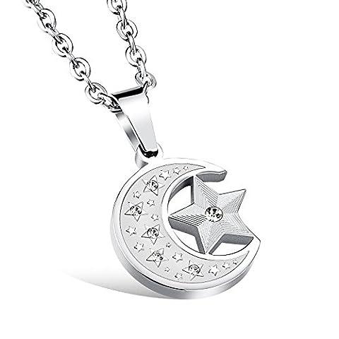 Fate Love Bijoux Cadeau Boyfriend Brillant Cristal en acier inoxydable–Collier Femme–Pendentif étoile lune 49,8cm Chaîne