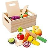 mysunny Giocattolo Magnetico di Frutta e Verdura Tagliata in Legno Giocattoli educativi di Simulazione di Cucina e percezione del Colore per Bambini in età prescolare Bambini Ragazzi Ragazze