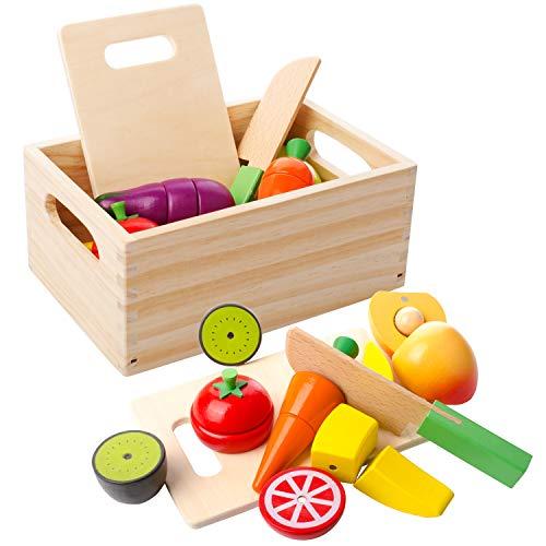 mysunny Hölzernes Geschnittenes Obst und Gemüse als Spielzeug Küche Simulation Bildungs Spielzeug und Farbe Wahrnehmung für Kinder im Vorschulalter Kleinkinder Jungen Mädchen