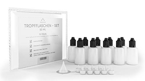 10x 50ml Tropfflaschen + Zubehör (12-teilig) - Liquid Flaschen + Trichter + Etiketten - Flasche für Flüssigkeiten und Liquid - auslaufsicher mit Kindersicherung