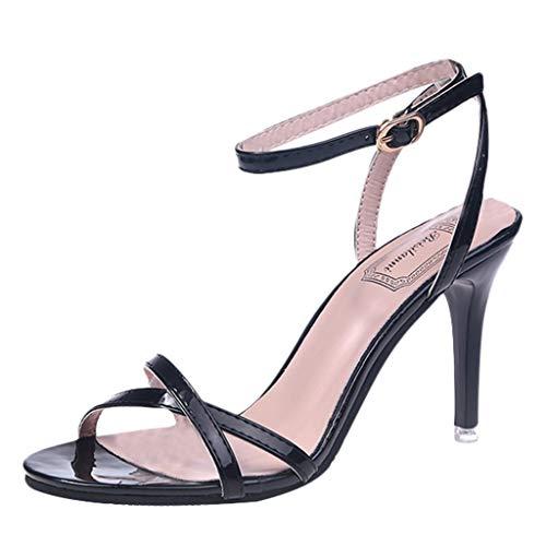 feiXIANG Damen Sandalen Mode Frauen Slingback Klassische Pumps Frauen Absatzschuhe(Schwarz,36) - Mini-slingbacks