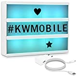 kwmobile insegna luminosa cinema lampada LED decorativa - light box formato A4 7 colori 126 lettere nere - trasformatore USB cinematic lightbox