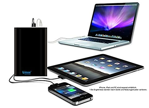 lizone® Extra Pro Super Capacité Portable Batterie externe Power Bank Chargeur avec carnet, ordinateur portable Apple MacBook Air, Macbook Pro, Macbook, PowerBook et iBook ; HP Compaq Pavilion, mini, Elife, ProBook, Presario, Jalousie et G ; Ordinateur Portable IBM LENOVO THINKPAD et IdeaPad, port USB pour iPad Air, iPad Mini, iPad et iPhone ; Samsung Galaxy Nexus, Moto, G, LG, HTC et plus – aluminium Corps que original MacBook Corps (pas plastique) – 18 mois de garantie 60000mAh