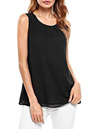 Beyove Damen Ärmellose Chiffonbluse Sommer Elegant Weste Top Hemdbluse  Sommerbluse Loose fit T Shirt 946ca0a59c