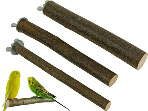 3 Sitzstangen für Vögel aus Naturholz 20 cm lang   Für Wellensittiche, Finken, Nymphensittiche, Papageien und Co.   Sitzstangen Set für Vögel   Ohne Werkzeug an jedem Käfig einfach zu befestigen