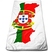 ewtretr Toallas De Mano, Flag Map of Portugal Multipurpose Soft Polyester Lightweight Hand Towel for