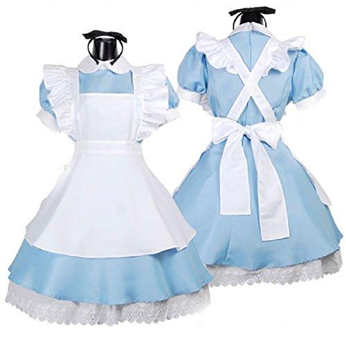 DUHLi Blau Sexy Alice im Wunderland Kostüm Erwachsene Partei Phantasie Frau Rollenspiele Lolita Maid Halloween Kostüm Frauen Kleid Plus Größe (1 Packs),Blue,XL