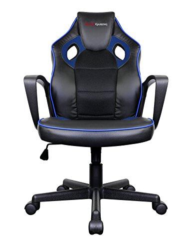 Mars Gaming MGC0BBL – Chaise de Jeu Professionnelle avec Roues (Inclinaison réglable et Hauteur, rembourré, Appui-tête Ergonomique), Noir et Bleu
