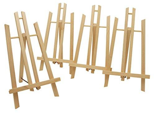 4 Stück Display-/ Tischstaffelei je 40cm hoch, aus Vollholz, klappbar und platzsparend, Bildhalter, Deko-Ständer, Sitzstaffelei