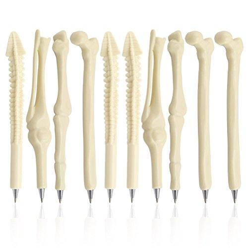 PIXNOR - Bolígrafos originales de punta redonda de huesos, regalo para enfermeros, médicos, radiólogo, material de papelería,tinta azul, paquete de 10