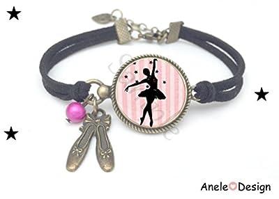 Bracelet Ballet étoiles Danse classique cabochon noir rose danseuse ballerine pointes perles vintage romantique