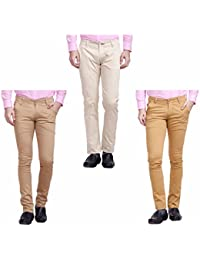 Nimegh Cream, Wine And Beige Color Cotton Casual Slim Fit Trouser For Men's (Pack Of 3)
